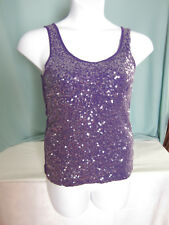 Old Navy Purple Tank Top LG Cami Clear Sequins Front Cotton Blend EPOC