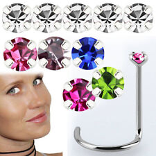 Tiny Small Prong Set Cz Crystal Us 6-20Pc 22g 0.6mm Nose Stud Screw Steel 1.25mm