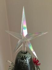 """LARGE CLEAR IRIDESCENT AURORA STAR TOPPER Ceramic Christmas Tree Lights 3/16"""""""
