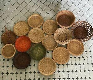 Bohemian Wicker Wall Hanging Basket Lot of 16
