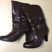 Arizona Jeans Boots Heels Midcalf Woman's Size 8.5 Brown