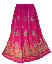 Indian Bollywood boho gypsy tribal belly dance sequins pink skirt