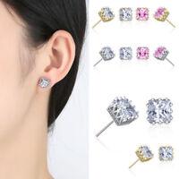Fashion Women Men 's Silver Plated Cubic Zirconia Square Stud Earrings 6mm-8mm