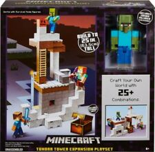 """Minecraft TUNDRA TOWER EXPANSION PLAYSET Zombie 5"""" Figure Winter Cave MATTEL"""