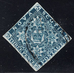 Nova Scotia 1857 3d dark blue, Scott 3, VF used, catalogue - $400