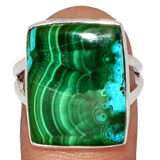 Malachite In Chrysocolla 925 Sterling Silver Ring Jewelry s.8 BR43289