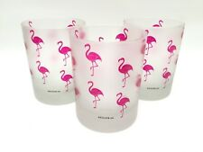Culver 3 Frosted Pink Flamingo DOF Rocks Glasses Double Old Fashioned Lowball