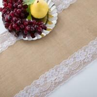 Vintage Burlap Lace Hessian Table Runner Natural Jute Party Wedding Decor New