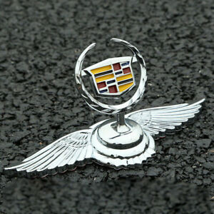 Chrome Front Hood Ornament Wings Emblem Sticker for Cadillac ATS CTS Escalade
