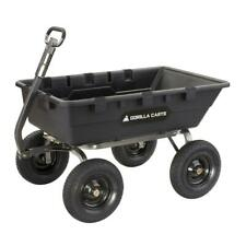 GORILLA CARTS Poly Dump Cart 1,500 lb. Load Capacity Boasts Big Pneumatic Tires