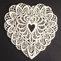"Vintage Applique Embroidered White Size 3 1/2"" X 4"" Heart Shaped"