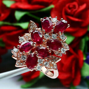 NATURAL RED RUBY & WHITE CZ RING 925 STERLING SILVER SZ 7.75