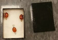 Real? Amber colored Necklace pendant, clip earrings white rose inscription box