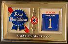 Vintage Pabst Blue Ribbon Vacuum Form Beer Advertising Bar Wall Sign Calendar