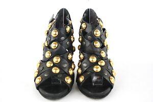 GUCCI Black Leather & Gold Studded Heels Stud Babouska Crisscross UK 7 / 40
