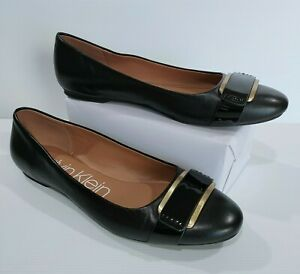 Calvin Klein Black Ballet Flats Size 10 (40.5 EU) Leather