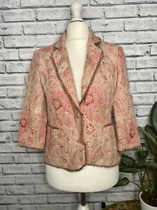 Monsoon Pink Floral Blazer Jacket Size 14 Embroidered