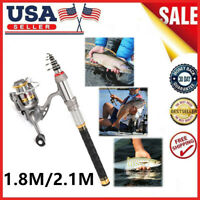 Lixada Telescopic Fishing Rod+Spinning Fishing Reel Combo Kit Gear Pole Set I7I1