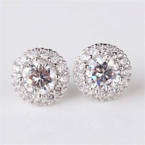 White Gold Plated Sparkly Shiny Clear Zircon Round Stud Women Earrings Jewelry