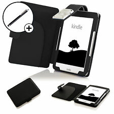 Cuir Housse Etui Noir Pochette LED Lampe De Chevet Kindle Amazon 2016 Stylet
