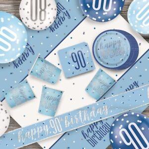 Blue Glitz 90th Birthday Party Supplies Decorations (Confetti Strings Napkins)
