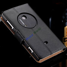 For Nokia Lumia 1020 Luxury Genuine Leather Flip Wallet Stand Case Cover Pouch
