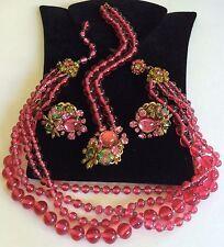 Rare Vintage Miriam Haskell Frank Hess Necklace Bracelet & Earrings Set~Signed
