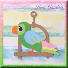 PARROT ON SWING Embellishment Paper Piecing card making and scrapbooking