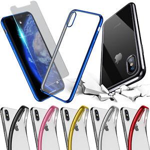 Handy Hülle für iPhone für Samsung Silikon Case Chrom Panzerfolie Schutz Glas 9H