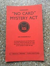 (H)Rare Vintage Magic Trick Book No Card Mystery Act  By Annemann