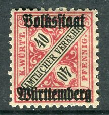 WURTTEMBERG;  1919 Official VOLKSSTAAT Optd. mint hinged 40pf. SP-245347