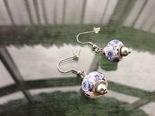 Vintage Style Silver Tone Blue & White Ceramic Doughnut Bead Drop Hook Earrings