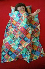 """Handmade-reversible doll quilt and pillow for 18"""" American girl doll"""