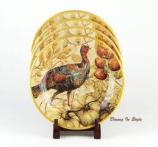 """Set of 2 (9"""") Salad Plates, MINT UNUSED! Fresco Turkey (Female), Pottery Barn"""