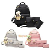 3X Women PU Leather Bowknot Backpack Travel Crossbody Bag Card Holder School Bag