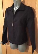 Ladies ELLE Black Short ZIP front Simple Collared JACKET Coat UK Size Small S