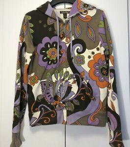 Lucky Brand Women's Hoodie Zip Up Jacket Sweatshirt Colorful Retro Floral Medium
