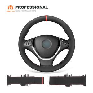 Black Suede Car Steering Wheel Cover for BMW X5 E70 2007-2012 / X6 E71 E72