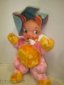 """VINTAGE CARNIVAL PRIZE RUBBER FACE STUFFED ANIMAL PINK & YELLOW PIGGY PIG 17"""""""