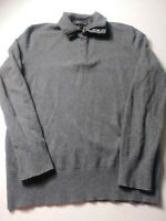 Banana Republic Mens Polo Sweater Size M Gray Long Sleeve Merino Wool Pullover