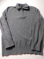 Banana Republic Mens Polo Sweater Size M Gray Long Sleeve Merino Wool Pullover