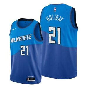 Men's Milwaukee Jrue Holiday Blue 2021 Finals Jersey -City Edition #21