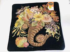 Vtg Woollen Unicorn Floral Needlepoint Cornucopia Pillow Cases 16 X 16
