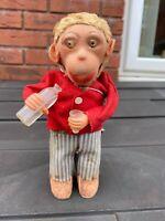 Milk Drinking Clockwork Monkey - Excellent Vintage Original 1950s