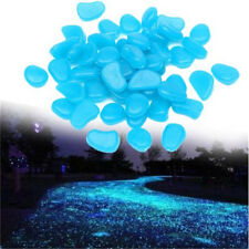 US 100pcs Man-made Blue Rock Glow in the Dark Pebbles Stone Fish Garden Walkway