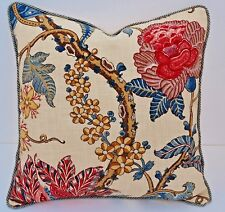 EXCITING RASPBERRY FLORAL RED BLUES CREAM DECORATIVE DESIGNER THROW PILLOW COVER