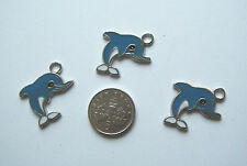 3 cute enamel dolphin charms