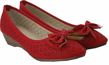 New womens Ladies mid wedge heel bow Summer Fashion office work Casual Shoes 3-8