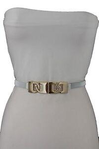 Women White Stretch Waistband High Waist Hip Narrow Belt Gold Buckle Size S M L