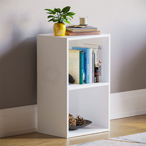 Oxford 2 Tier Cube Bookcase Display Shelving Storage Unit Wooden Stand White New